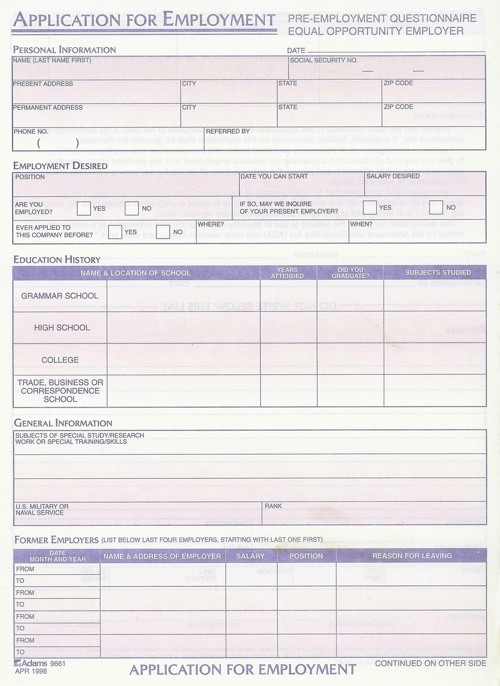 Employee Application Form Pdf – Generic Application for Employment